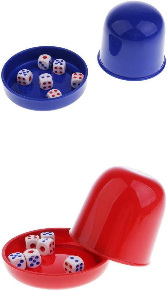 IPOTCH 2 Pezados de Taza de Dados con Base con 12 Dados de Rojo/Azul Accesorios Divertidos de Juegos de Mesa de KTV Bar Fiestas: Amazon.es: Juguetes y juegos