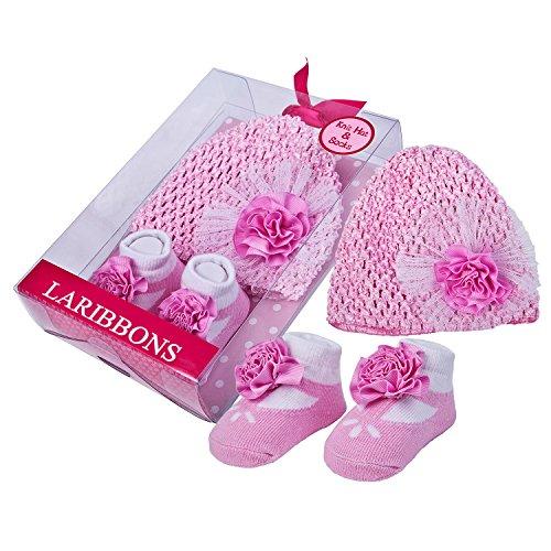 [Laribbons Infant Essentials Baby Girls Crochet Hat & Socks Gift Set] (Devil Girl Outfit)