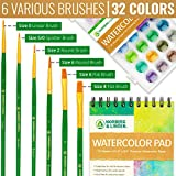 Watercolor Paint Set - 36 Premium Paints - 12 Page