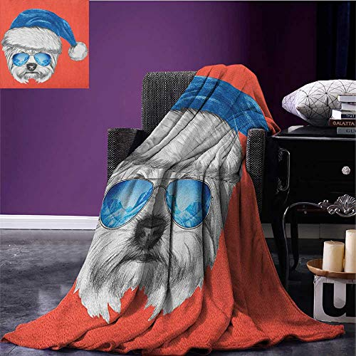 Yorkie couch blanket Terrier with a Blue Santa Hat and Mirror Aviator Glasses Fun Hand Drawn Animal Custom Coral White Blue size:50''x60'' by Anniutwo