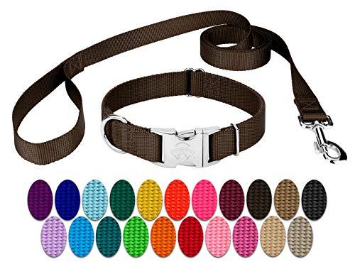 Country Brook Design - Premium Nylon Dog Collar and Leash - Brown - Large