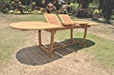 TeakStation Grade-A Teak Wood Large double extension 94″ Mas Oval Dining Table with Trestle Legs #TSDT94OM