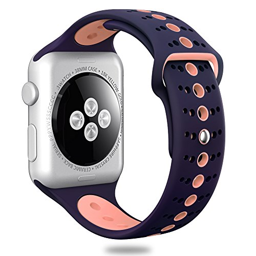 Comppatible for Apple Watch Band 42mm,Valband Soft Silicone Sport Band Strap Replacement iWatch Bands for Apple Watch Nike Series 3,Series 2,Series 1 (42mm, Dark Blue/Pink)