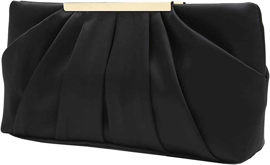 Charming Tailor Clutch Evening Bag Elegant Pleated Satin Formal Handbag Simple Classy Purse for Women (Black) best dressy clutches