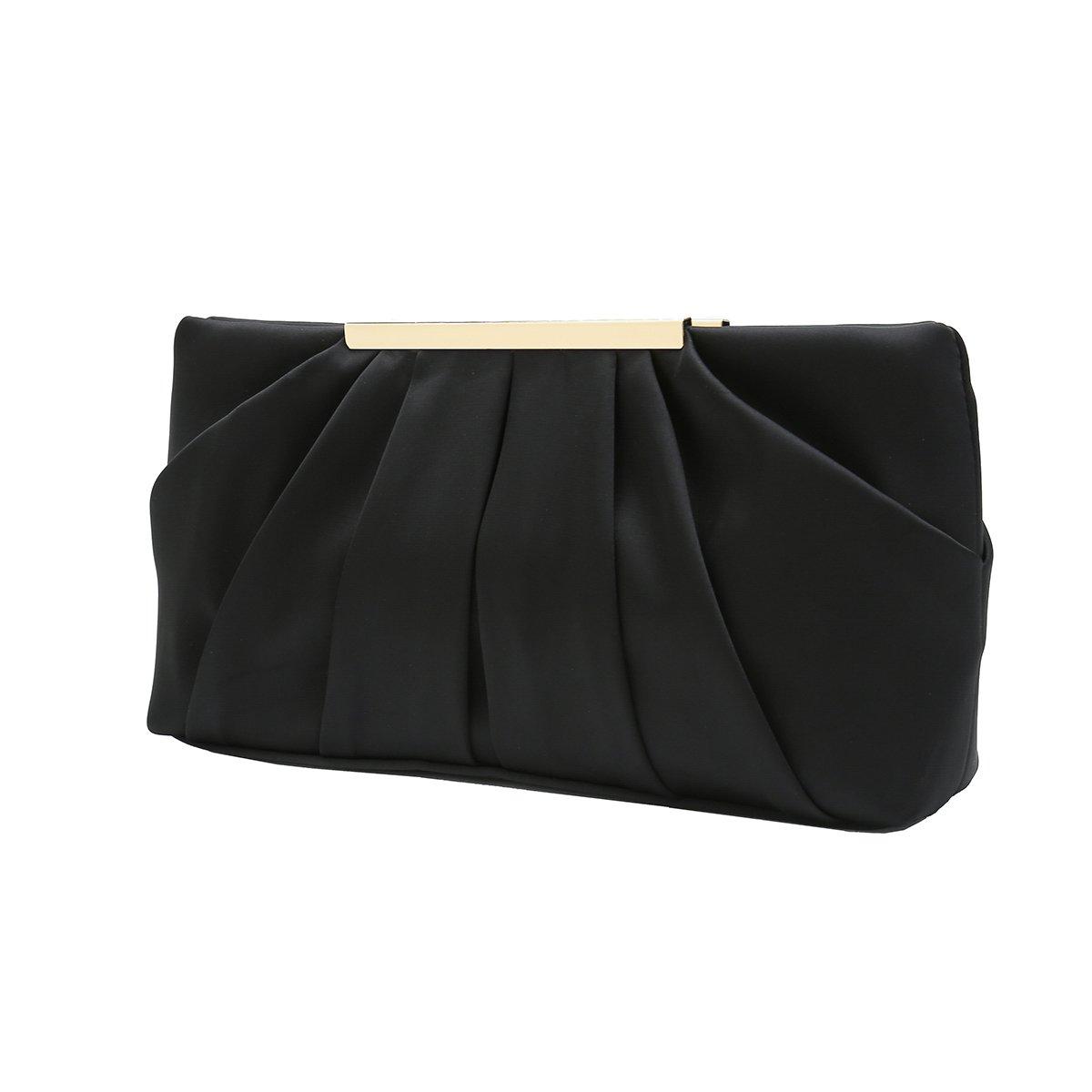 Charming Tailor Clutch Evening Bag Elegant Pleated Satin Formal Handbag Simple Classy Purse for Women (Black)