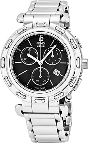 Fendi Selleria Mens Stainless Steel Swiss Chronograph Watch with Selleria Horse Logo on Back – Black Face Analog Quartz Fashion Dress Watch For Men with Interchangeable Band F89031H-BR8653