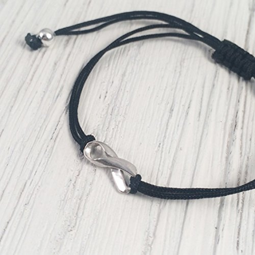 Black, Small Sterling Silver Ribbon Shaped Charm Bracelet, Melanoma Skin Cancer Awareness, Sleep Apnea, Mourning, POW MIA. Handmade Friendship Support Bracelet, Adjustable Thread.