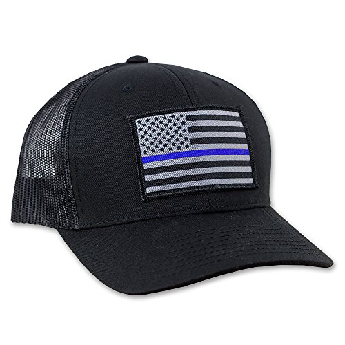 Thin Blue Line American Flag Flexfit Hat - Snapback Mesh Trucker