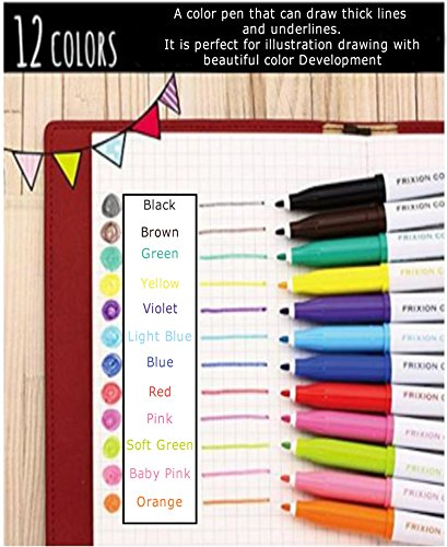 Pilot Frixion Erasable Coloring Pens 12 Pack with Sticky notes– Multi Colored Dry Erase Markers, Comfy Grip, Retractable Clip On Cap, Consistent Gel Formula – For Home, School, Students, Kids, Drawing by Pilot (Image #2)