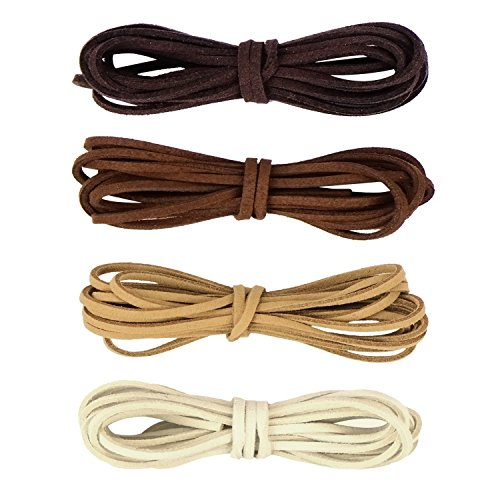 Whaline Leather Cord Suede String for Bracelet Necklace Beading Jewelry DIY Handmade Crafts, 4 Pieces, 4 Colors(2mm x 2m)