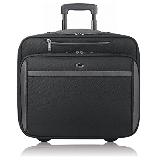 (Solo New York Westside Rolling Overnight Laptop Bag.  Slim, Compact Design Rolling Overnighter Case for Women and Men. Fits up to 16 inch laptop - Black)