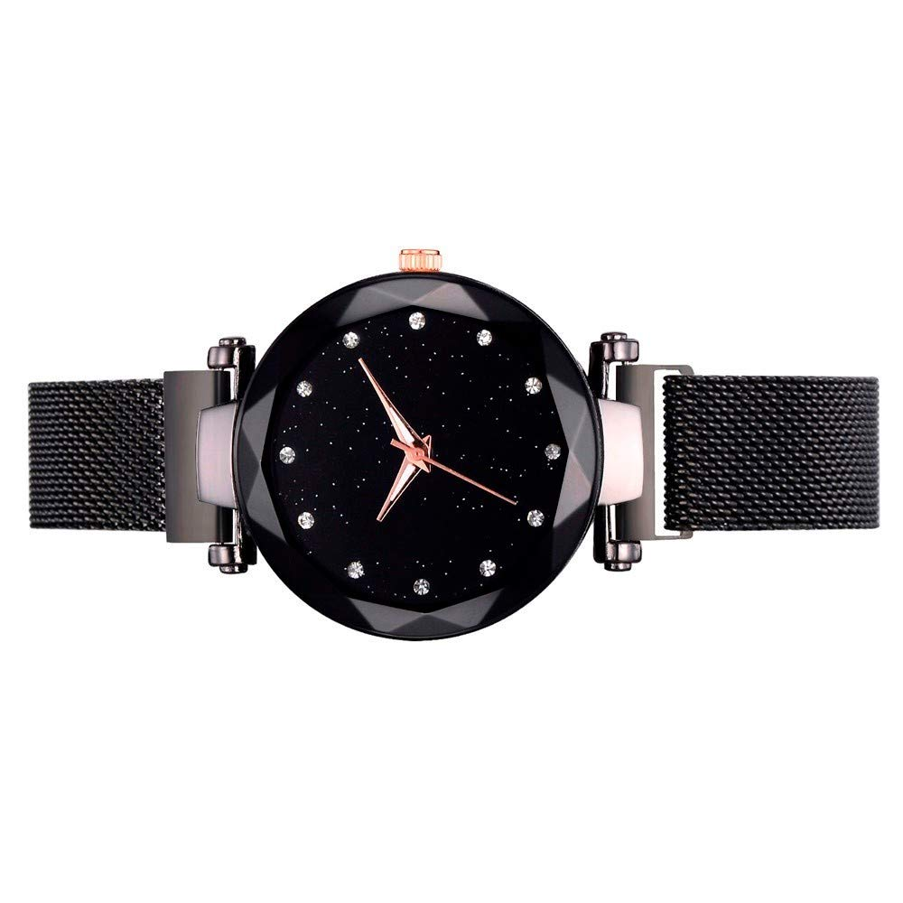 Amazon.com: Fashion Casual Quartz Mesh Belt Watch Analog Wrist Watch Black: Clothing