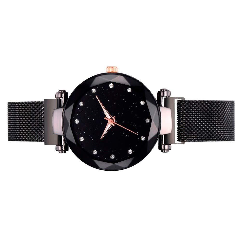 Amazon.com: Fashion Casual Quartz Mesh Belt Watch Analog Wrist Watch Black: Clothing