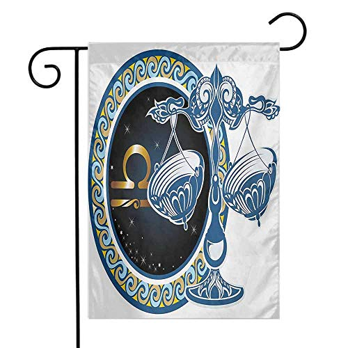 Zodiac Garden Flag Historical Astronomy Icon Sign Libra Pattern with Wheel and Scales Planetary Image Premium Material W12 x L18 Multicolor
