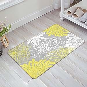 Custom Doormats Dahlia flor patrón blanco gris amarillo para interiores/al aire libre/entrada forma baño alfombrillas de goma Tela no tejida antideslizante