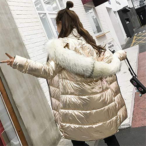 Cappotto Trapuntata Fashion Cappuccio Pelliccia Eleganti Donne Con Caldo Giaccone Manica Casual Oro Cappotti Giacca Addensare Casuale Lunga Giacche Invernali Outdoor Sintetica Trapuntato Battercake Donna AwpRdfqq