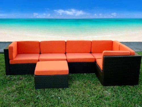 Amazon.com: Aventura 6 Piece Wicker Outdoor Sectional Set [Orange Cushions]:  Home U0026 Kitchen