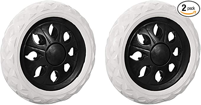 uxcell Shopping Cart Wheels Travelling Trolley Caster Replacement 5 Inch Dia Rubber Foaming Black 2Pcs