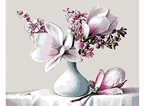 "Assorted Paint-by-Number Kits for Adults – Japanese Magnolia - Includes Brushes, Paints and Numbered Canvas - Frameless - 16"" x 20"" – Great for Kids and Adults – by Red Stapler"