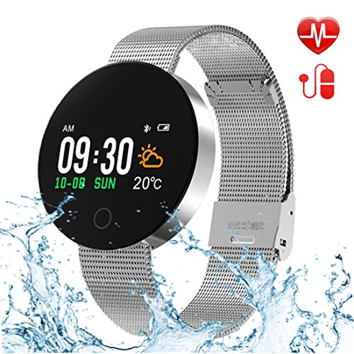 Bluetooth Smart Watch,Fitness Tracker Heart Rate Monitor,Sleep Monitor,Waterproof Colorful Touch Screen Activity Tracker Kids Women Men,Smartwatch Pedometer Android iOS(Silver1) by uwinmo