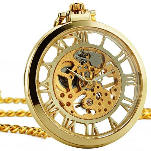ManChDa Steampunk Golden Frame Wheel Stainless Steel Skeleton Hand Wind Mechanical Pocket Watch Open Face Fob Men