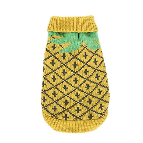 Costume People Dog (Puppy Clothes Neartime Pet Clothes Winter Warm Pineapples Knitting Coat Costume Apparel (XL,)