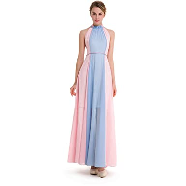 eb5d67952eb BKMGC Match Colors Light Blue Pink Gowns Female Elegant Long Slim Summer  Dresses (XXXL)