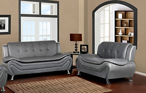 Container Furniture Direct S5413-S+L Arul Leather Air Upholstered Mid Century Modern Set with 77.5
