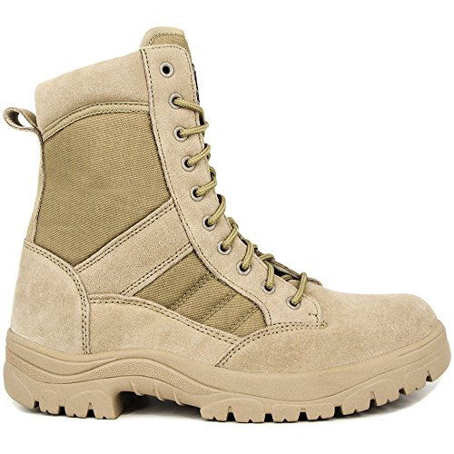 WIDEWAY Men s 8   Inch Military Tactical Boots Full Grain Leather Police  Duty Water Resistant 3f346ba143a