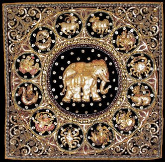 Oriental Furniture Burmese Elephant Horoscope Tapestry Wall Hanging by ORIENTAL FURNITURE