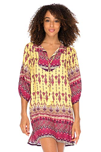 s Boho Vintage Print Loose Fit Tunic Dress V-Neck with Tassel Ties Casual Bohemian Swimsuit Cover Up Saffron Large ()