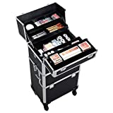Yaheetech 3 in 1 Professional Artist Rolling Trolley Makeup Train Case, Aluminum Cosmetic Organizer Makeup Case 360-degreed Wheels For Beauty Chains Shoulder Straps Black