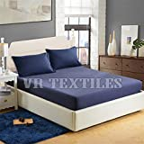 VR Textiles Best Quality, Egyptian Cotton 5 PC 18'' Deep Pocket Fitted Sheet Set(1 Fitted Sheet+4 Pillow Cover) King Navy Blue