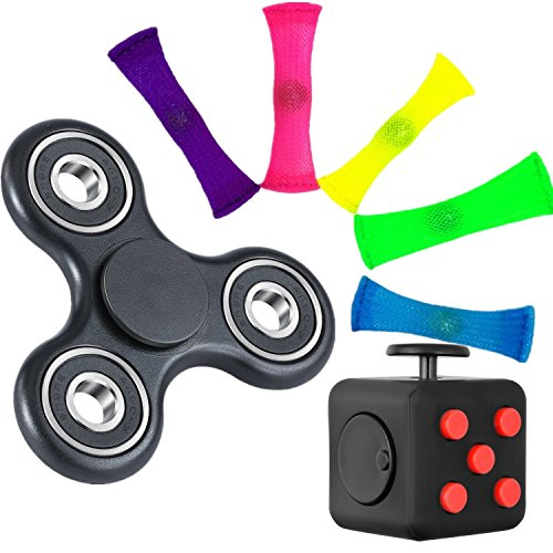 3-different-stress-relievers-set-fidget-cube-360-tri-fidget-hand-spinner-set-of-5-fidget-toys-with-m