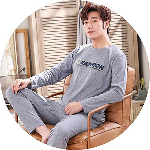 AMAZING AMAZING Fashion Cartoon Pajamas Set Men's Spring Autumn Cotton Sleepwear Casual Homewear Male Pyjamas,C YEX 219 -