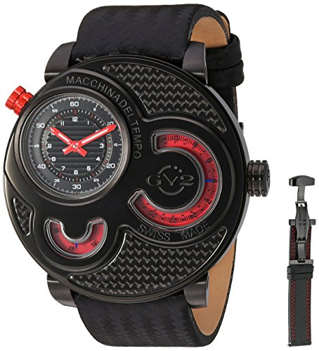 Gevril Macchina Del Tempo Mens Swiss Quartz Carbon Fiber Pattern Black Leather Strap Watch, (Model: 8305)