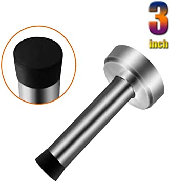2pack Heavy Duty Rubber Doorstops Door Holder for Wall or Ground Mount to Protect Your Wall or Door Silver Door Stopper 2 Pack Stainless Steel Brushed Cylindrical Door Stop