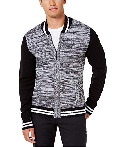 (American Rag Mens Full Zip Varsity Striped Sweater Black 2XL)