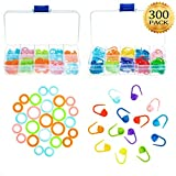 #6: Whaline 300 Pieces Stitch Ring Markers and Colorful Knitting Crochet Locking Counter Stitch Needle Clip with 2 Storage Box (Multiple-Size)
