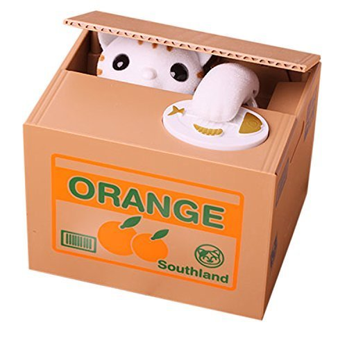 Cat Style Coin Money Box Piggy Bank Collecting Saving Money Bank Color White by Flyfish@ MoneySavingToy