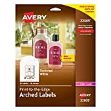 Avery Textured Print-To-The-Edge Arched Labels, Laser Printers, 3 x 2.25-Inches, White, Pack of 90 (22809)