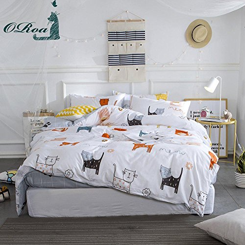 ORoa New Cartoon Cat Twin Cute Duvet Cover Sets for Kids White Grey 100% Cotton Reversible Comfortable 3 Pieces Kids Bedding Duvet Cover Pillowcases Child Bedding Sets (Duvet Covers Pillowcase)