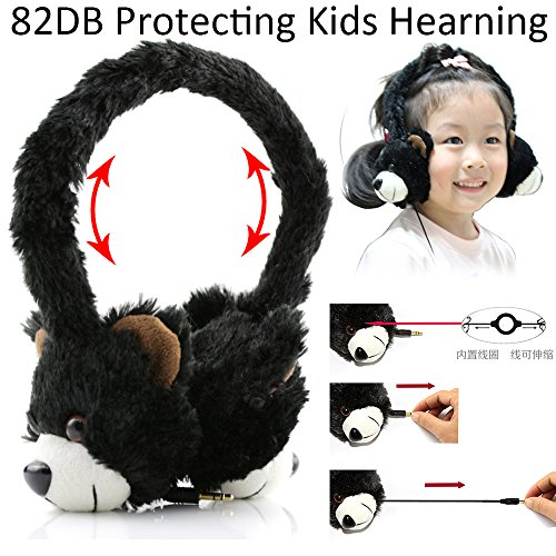 - Daioolor Soft Clothes Adjustable Kids Headphone for Girl and Boy with Cute Animal Toy, Ear Protection Volume Limiting for Tablet, PC, Phone (Bear)