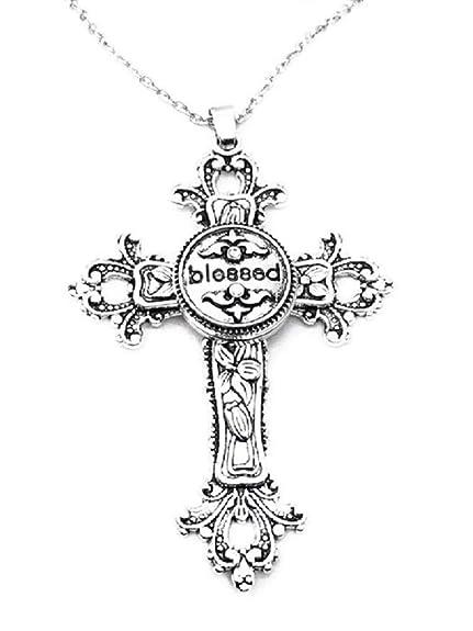 Amazon.com: Pizazz Studios - Collar con colgante de cruz con ...