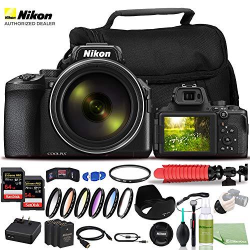 Nikon COOLPIX P950 Digital Camera - Bundle - (26532) USA Model + Color Multicoated 6pcs Filter Set + 2x EN-EL20 Battery + 2x SanDiskExtreme PRO 64GB Card + Large Case + 12 Inch Flexible Tripod + More