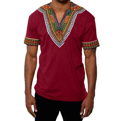 (OrchidAmor Fashion Men's Gym Swag Comfy Slim Fit V Neck Printed Muscle Tee T-Shirt Casual Tops Blouse Wine Red)