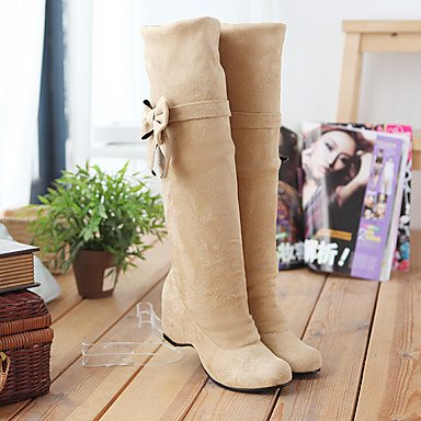 Ch & Tou Femmes-bottines-formelle-riding Bottes-wedge-faux Cuir-noir / Marron / Jaune / Beige, Marron, Us8 / Eu39 / Uk6 / Cn39