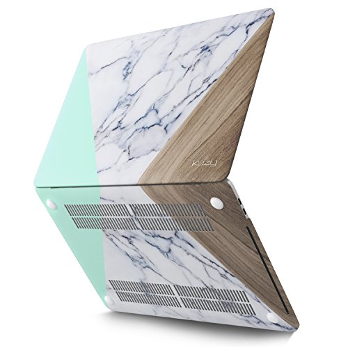 Kuzy MacBook Pro 13 Case 2018 2017 2016 Release A1989 A1706 A1708, Plastic Hard Shell Cover for NEWEST MacBook Pro 13 inch case with/without Touch Bar & Touch ID Soft Touch - Marble Mint Wood Pattern