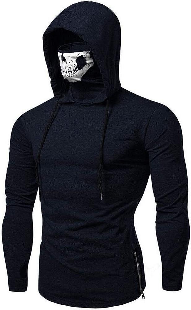 beautyjourneylove Camicia a Maniche Lunghe con Cappuccio per Uomo Maschera Skull Splicing Pullover Maglie Camicetta Studente Sweatshirt Pullover