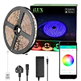 iLUX Bluetooth RGB LED Smart Strip Light Kit, 5M 300 LEDs, Dimmable, Colour Changing, Music Sync